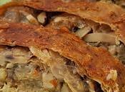 Rollo vegano pollo relleno yuba champiñones