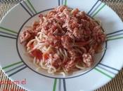 Espaguetis boloñesa pollo