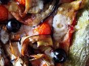Pizza berenjenas [con masa rúcula albahaca]