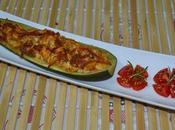 Calabacin relleno pollo gratinado horno