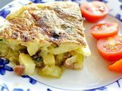 Tortilla pencas acelgas, jamón patata