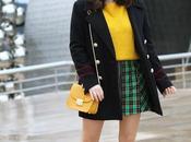 Outfit mini falda cuadros verde