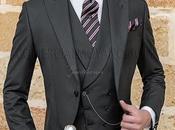 "Chaqué negro sastrería italiana elegante corte ""Slim"". Tejido raya diplomática."