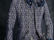 Traje novio época gótico brocado azul plata cuello cristal