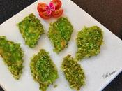 Lubina rebozada escamas arroz verde