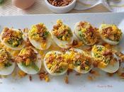 Huevos rellenos guacamole cebolla crujiente para #lunessincarne