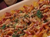 Macarrones gratinados bacon queso