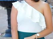 Falda flecos turquesa