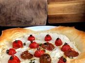 Tarta salada ricotta, Cherrys confitados Masa Filo