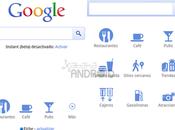 Google añade iconos Places página inicio versión móvil buscador