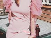 Vestido rosa mangas abullonadas
