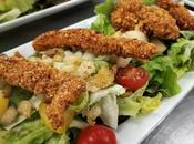 Ensalada templada pollo empanado