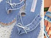 unas hermosas sandalias reciclando pantalones mezclilla