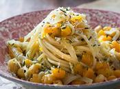 Spaghetti garbanzos calabaza