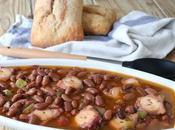 Potaje alubias canela pulpo, receta plato cuchara para compartir invierno