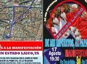 manifestación 'anti-Papa', 'contra Papa' sino '¡por estado laico!'