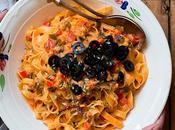 Pasta salsa erduras, tomate nata