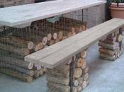 Muebles jardín troncos piedras