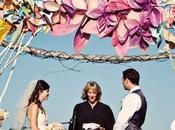 Arco para boda flores papel, molinillos viento y...