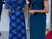 Samantha Cameron Michelle Obama, Primeras Damas vestidas azul Casablanca